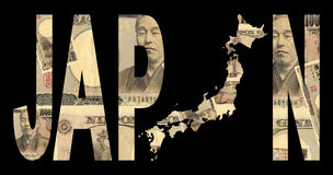 Japan map with cash. Japan map with text on collage of Japanese currency illustration Royalty Free Stock Photo