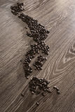 Japan map with coffee beans. With wooden background stock photos