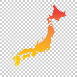 Japan map. Colorful orange vector illustration.  Royalty Free Stock Photos