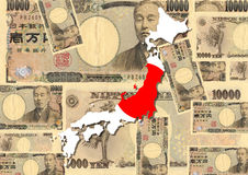Japan map with currency Royalty Free Stock Photo