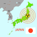 Japan map with danger Royalty Free Stock Photography