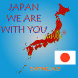 Japan map with epicenter Royalty Free Stock Images