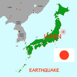 Japan map with epicenter of  earthquake Royalty Free Stock Image
