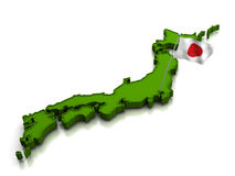 Japan - Map and Flag Royalty Free Stock Photos