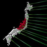 Japan map flag with binary code royalty free illustration