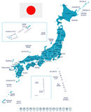 Japan - map and flag - illustration Stock Photo