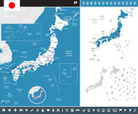 Japan - map and flag - infographic illustration Royalty Free Stock Photos
