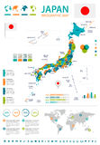 Japan - map and flag - infographic illustration Stock Photography
