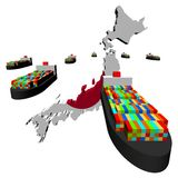 Japan map flag with ships Royalty Free Stock Photography