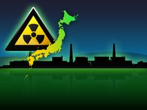 Japan map fukushima radioactivity illustration. Fukushima japan map and radioactivity sign illustration Royalty Free Stock Photography