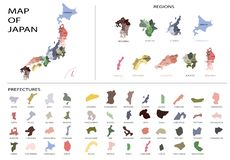 Japan map graphic vector - Separated isolated regions and prefectures for design or info graphic royalty free stock photo
