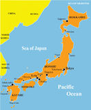 Japan map illustration. Japan map illustration with various colors Stock Photography