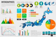 Japan map with Infographics elements. Infographics layouts. Vector Royalty Free Stock Image