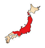 Japan map on Japan flag drawing Royalty Free Stock Photos
