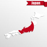Japan map with Japan flag inside and ribbon Stock Images