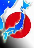 Japan - Map - Japanese Flag Stock Image