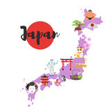 Japan map with Japanese national cultural symbols. Isolated on white background. Royalty Free Stock Photo