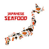 Japan map japanese seafood sushi fish food sashimi. Japanese seafood in shape of Japan map. Vector Sushi, sashimi and seafood dish. Oriental cuisine restaurant Royalty Free Stock Image