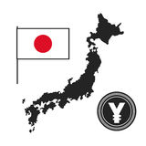 Japan map landmark flag and money Royalty Free Stock Images