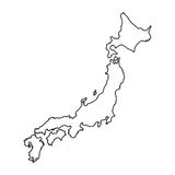Japan map in line style. Royalty Free Stock Photography