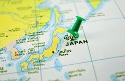 Japan map. Macro shot of japan map with push pin royalty free stock images