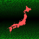 Japan map over binary code Stock Photos