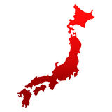 Japan map over white. Abstract japan map in red color over white background Stock Images