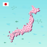 Japan map with pink sakura, blooming flower, vector illustration Royalty Free Stock Photos