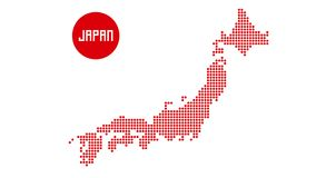 Japan map red dot halftone stock illustration