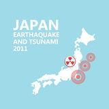 Japan map and seismic epicenter Royalty Free Stock Photo