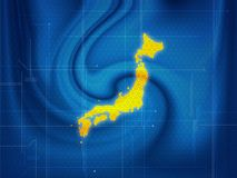 Japan map techno. Wallpaper illustration of a Japan map in a techno style royalty free illustration