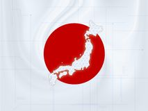 Japan map techno. Wallpaper illustration of a Japan map in a techno style stock illustration