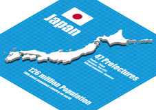 Japan map vector Royalty Free Stock Photos