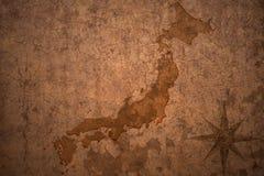 Japan map on vintage paper background. Japan map on a old vintage crack paper background stock photos