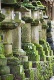 Japan Mara Row av stenlyktor i trädgård Arkivbild