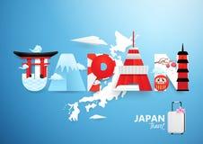 Japan-Markstein in Japan fasst Form mit Papier-carft, Schnittdesign ab Lizenzfreie Stockbilder