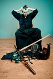 Japan martial art master with sword concept Royalty Free Stock Photography