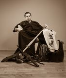 Japan martial art master with sword concept Royalty Free Stock Image
