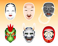 Japan masks 2. Traditional japanese theater masks - koomote, chujo, kokushikijo Royalty Free Stock Photo