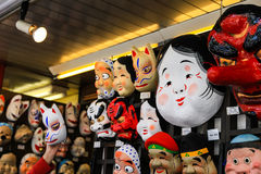 Japan masks hang on the wall Stock Photos