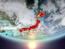 Japan med solen stock illustrationer