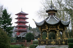 Japan meets China. View of the Japanese and Chinese Pavillions in Brussels, Belgium stock photos
