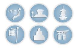 Japan met het beroemde Japanse ontwerp van het oriëntatiepunten Modieuze Web, vectorillustratie, papier-vectorknipsel stock illustratie