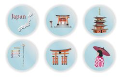 Japan met het beroemde Japanse ontwerp van het ori?ntatiepunten Modieuze Web, vectorillustratie, papier-vectorknipsel vector illustratie
