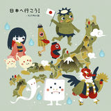 Japan monster travel map Stock Photo