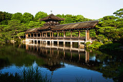 Amazing old Japanese Heian Palace Bridge in Kyoto Stock Photo