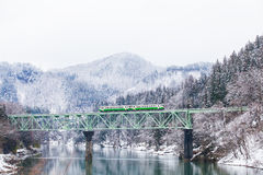 Free Japan Mountain And Snow With Local Train Royalty Free Stock Images - 84886249