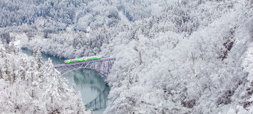 Free Japan Mountain And Snow With Local Train Royalty Free Stock Image - 88328776