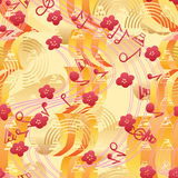 Japan music Sakura Fuji seamless pattern. This illustration is abstract Japanese wind blowing the Sakura flower, Fuji mountain sea make a noisy with music note Royalty Free Stock Photography