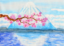 Japan, my love. Hand painted picture, watercolours, acrylic, mountain Fuji and branch of Japanese cherry tree in blossom with pink flowers Stock Photography